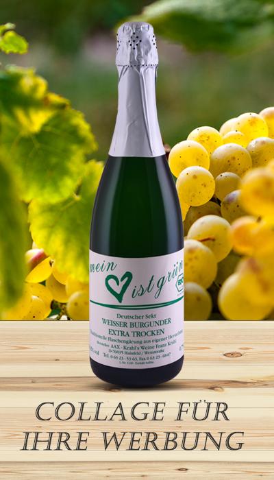 Weinflaschenfotos als Collage für die Werbung und das Marketing ihrer Weine.